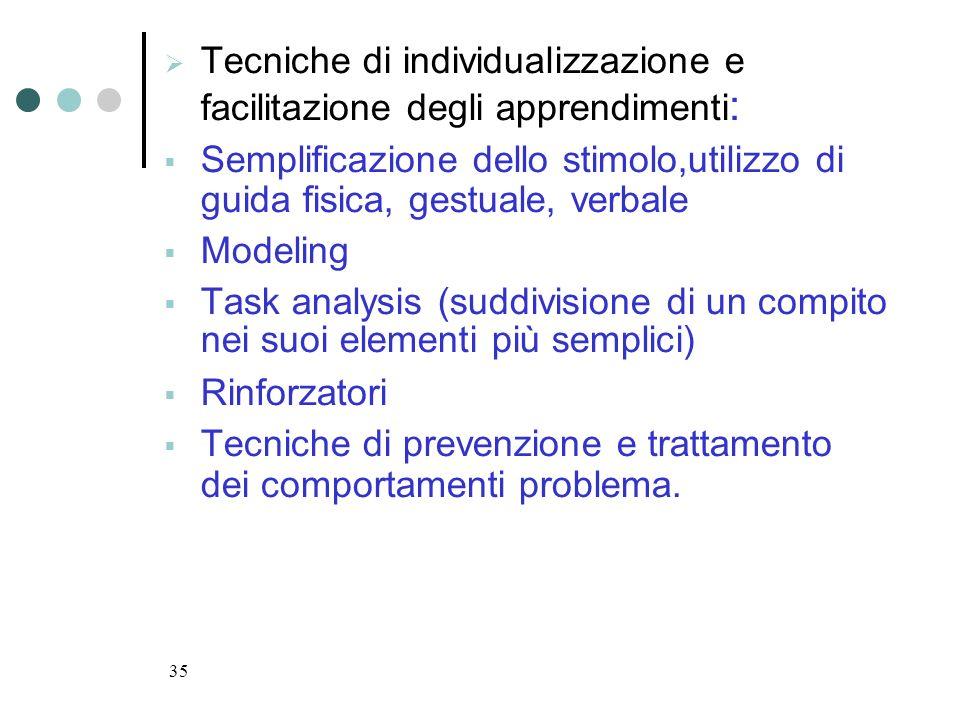 35 Tecniche di individualizzazione e facilitazione degli apprendimenti : Semplificazione dello stimolo,utilizzo di guida fisica, gestuale, verbale Mod