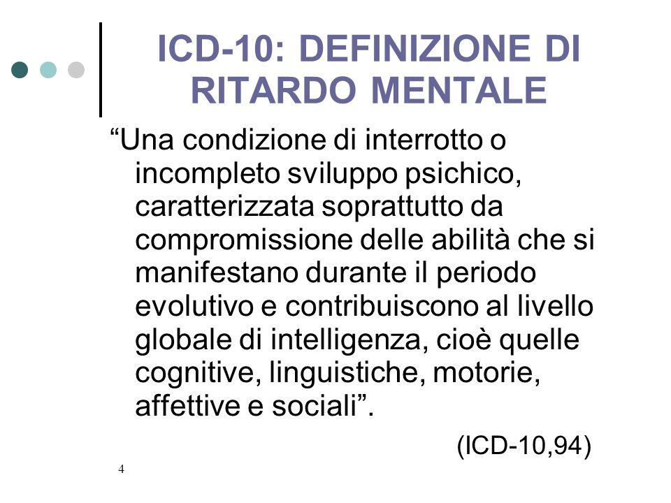 4 ICD-10: DEFINIZIONE DI RITARDO MENTALE Una condizione di interrotto o incompleto sviluppo psichico, caratterizzata soprattutto da compromissione del