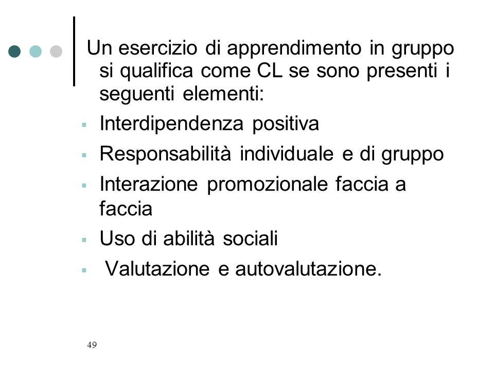 49 Un esercizio di apprendimento in gruppo si qualifica come CL se sono presenti i seguenti elementi: Interdipendenza positiva Responsabilità individu