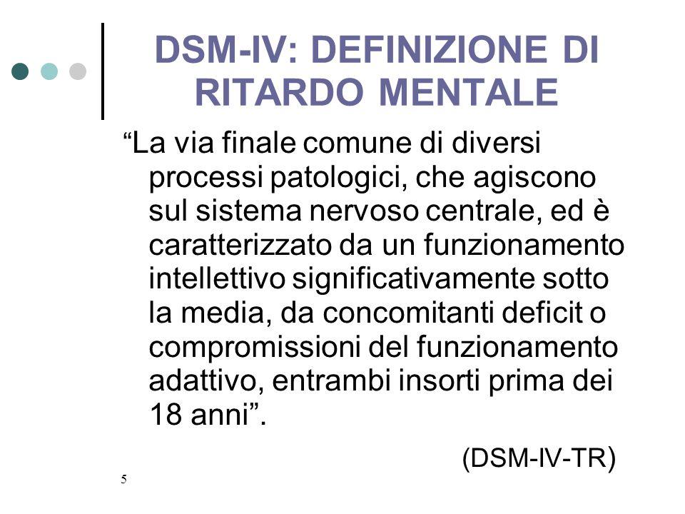 5 DSM-IV: DEFINIZIONE DI RITARDO MENTALE La via finale comune di diversi processi patologici, che agiscono sul sistema nervoso centrale, ed è caratter