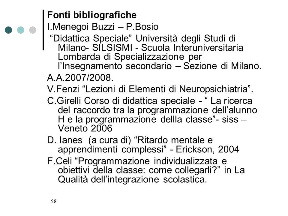 58 Fonti bibliografiche I.Menegoi Buzzi – P.Bosio Didattica Speciale Università degli Studi di Milano- SILSISMI - Scuola Interuniversitaria Lombarda d