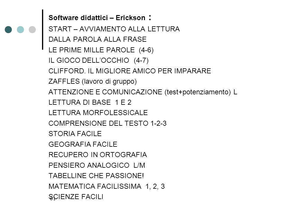 61 Software didattici – Erickson : START – AVVIAMENTO ALLA LETTURA DALLA PAROLA ALLA FRASE LE PRIME MILLE PAROLE (4-6) IL GIOCO DELLOCCHIO (4-7) CLIFF