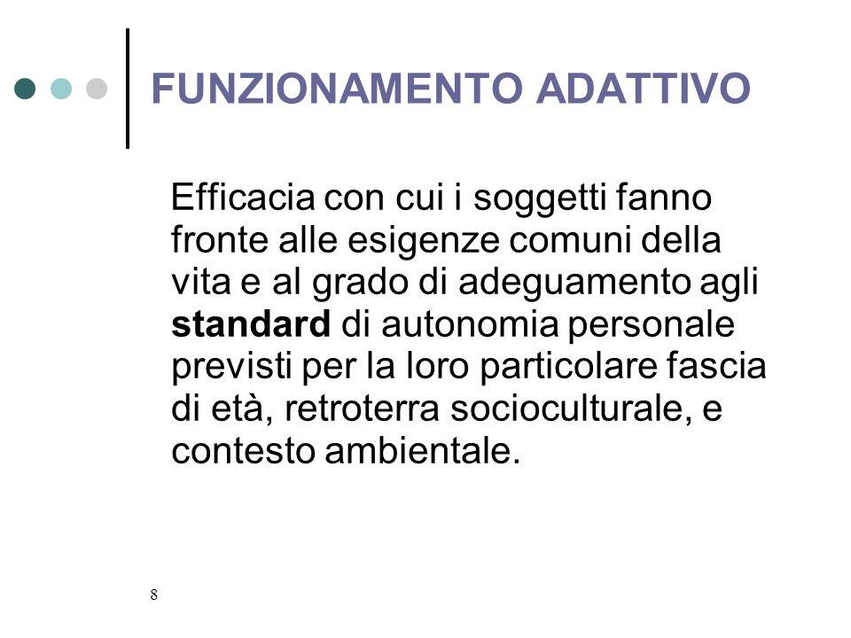 8 FUNZIONAMENTO ADATTIVO Efficacia con cui i soggetti fanno fronte alle esigenze comuni della vita e al grado di adeguamento agli standard di autonomi