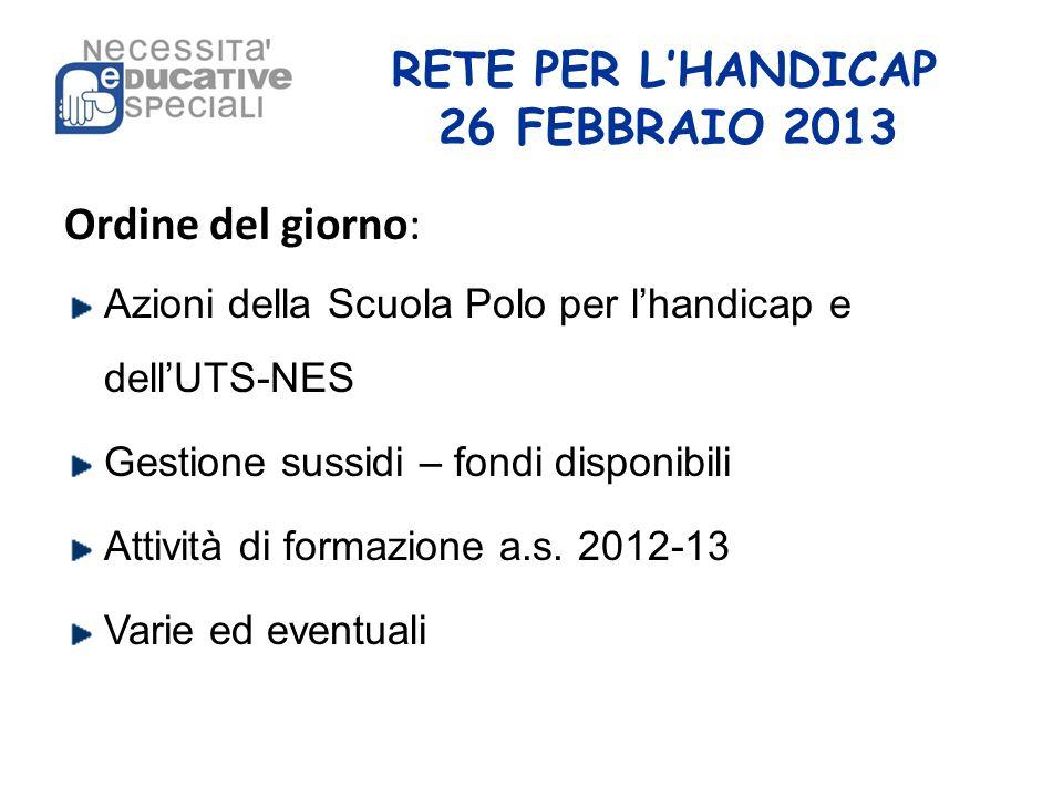 RETE PER LHANDICAP 26 FEBBRAIO 2013 Ordine del giorno: Azioni della Scuola Polo per lhandicap e dellUTS-NES Gestione sussidi – fondi disponibili Attiv