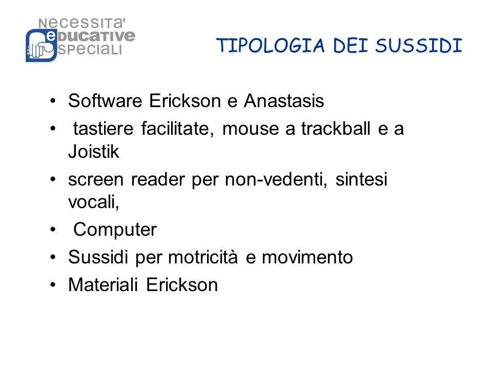 TIPOLOGIA DEI SUSSIDI Software Erickson e Anastasis tastiere facilitate, mouse a trackball e a Joistik screen reader per non-vedenti, sintesi vocali,