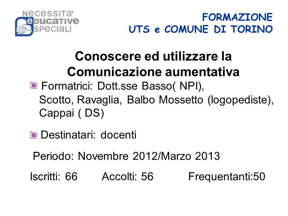 FORMAZIONE UTS e COMUNE DI TORINO Conoscere ed utilizzare la Comunicazione aumentativa Formatrici: Dott.sse Basso( NPI), Scotto, Ravaglia, Balbo Mosse