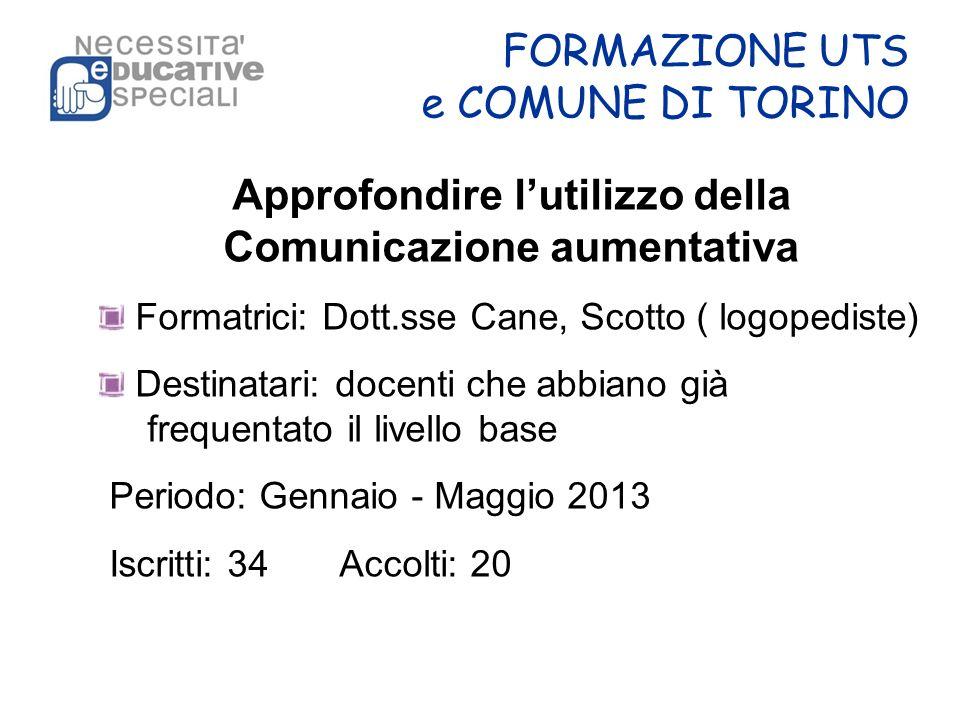 FORMAZIONE UTS e COMUNE DI TORINO Approfondire lutilizzo della Comunicazione aumentativa Formatrici: Dott.sse Cane, Scotto ( logopediste) Destinatari: