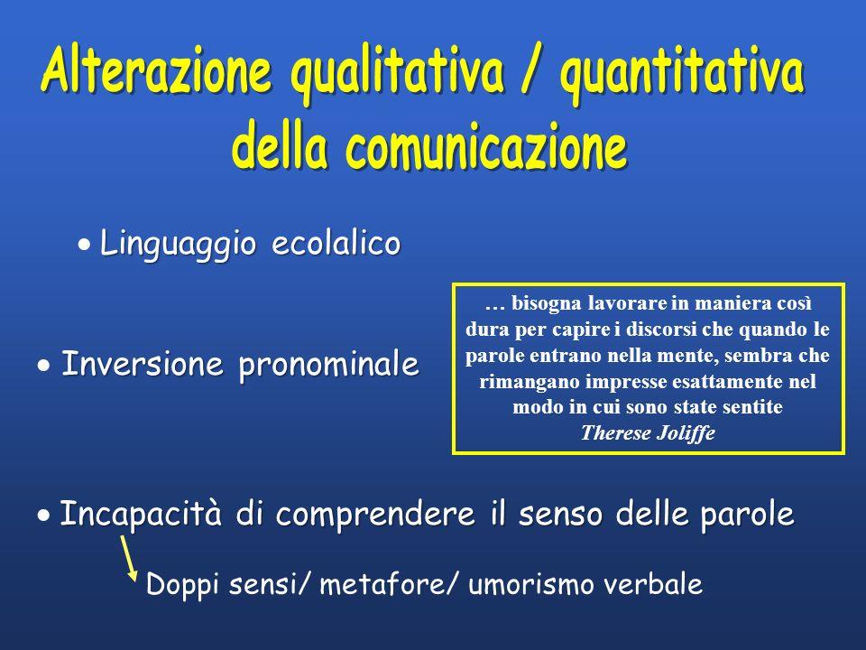 Linguaggio ecolalico Inversione pronominale Incapacità di comprendere il senso delle parole Doppi sensi/ metafore/ umorismo verbale … bisogna lavorare