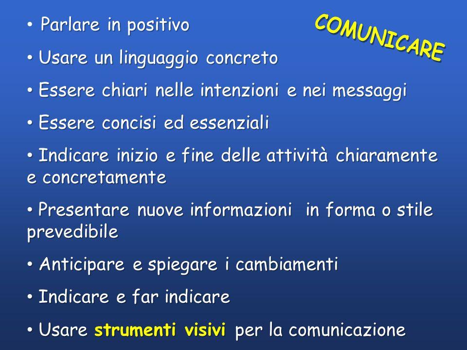 Parlare in positivo Usare un linguaggio concreto Usare un linguaggio concreto Essere chiari nelle intenzioni e nei messaggi Essere chiari nelle intenz