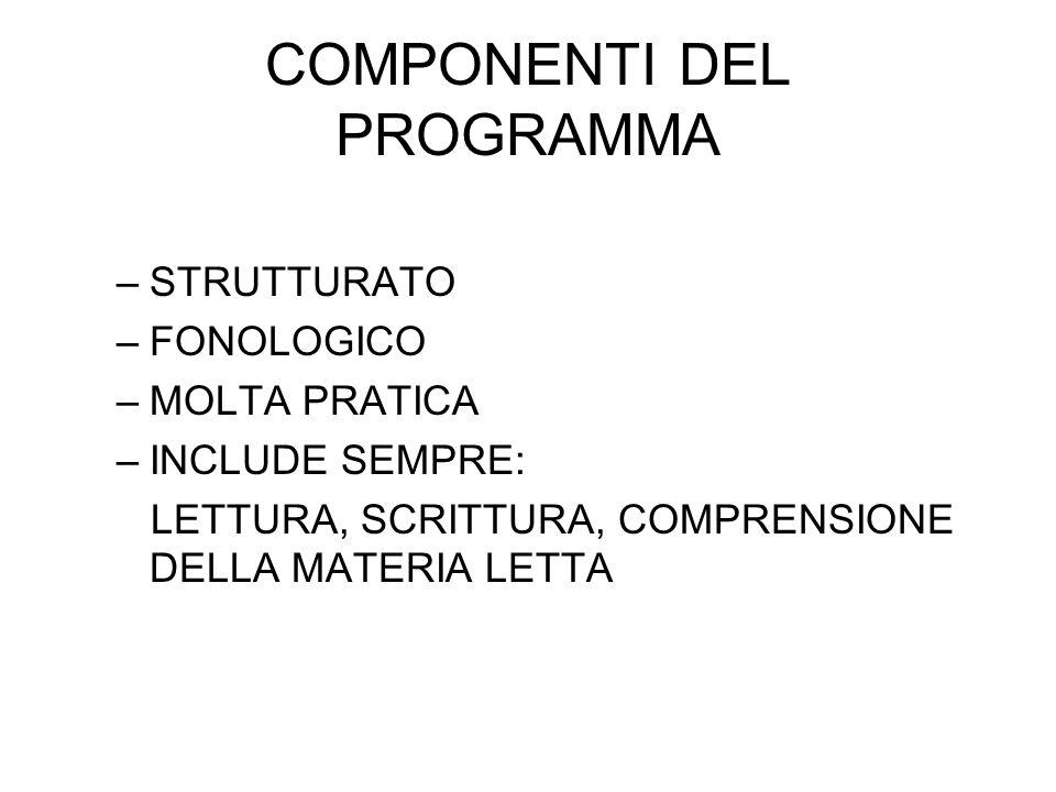 COMPONENTI DEL PROGRAMMA –STRUTTURATO –FONOLOGICO –MOLTA PRATICA –INCLUDE SEMPRE: LETTURA, SCRITTURA, COMPRENSIONE DELLA MATERIA LETTA