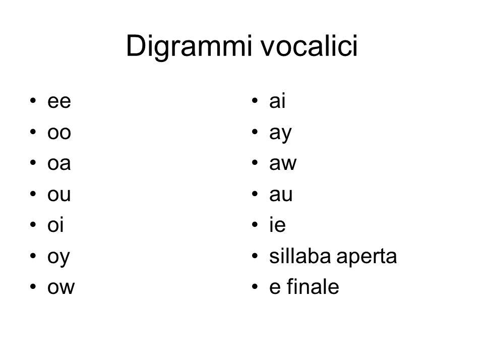 Digrammi vocalici ee oo oa ou oi oy ow ai ay aw au ie sillaba aperta e finale