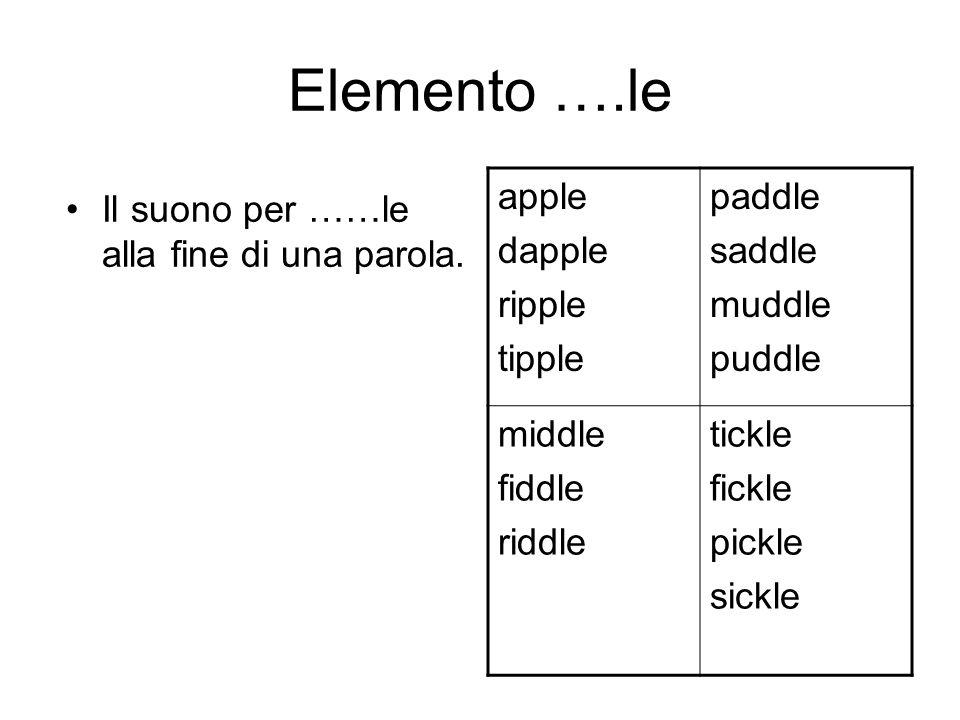 Elemento ….le Il suono per ……le alla fine di una parola. apple dapple ripple tipple paddle saddle muddle puddle middle fiddle riddle tickle fickle pic