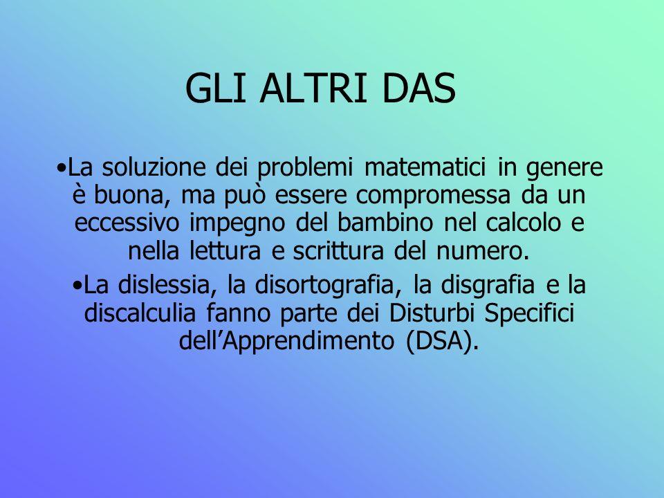 GLI ALTRI DAS La soluzione dei problemi matematici in genere è buona, ma può essere compromessa da un eccessivo impegno del bambino nel calcolo e nell