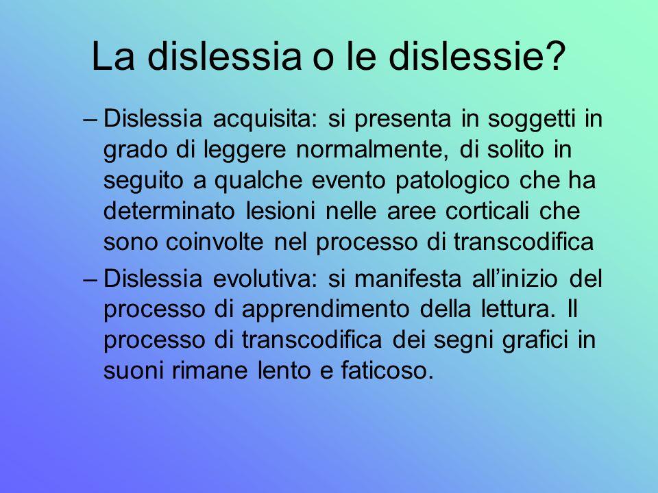 La dislessia o le dislessie? –Dislessia acquisita: si presenta in soggetti in grado di leggere normalmente, di solito in seguito a qualche evento pato