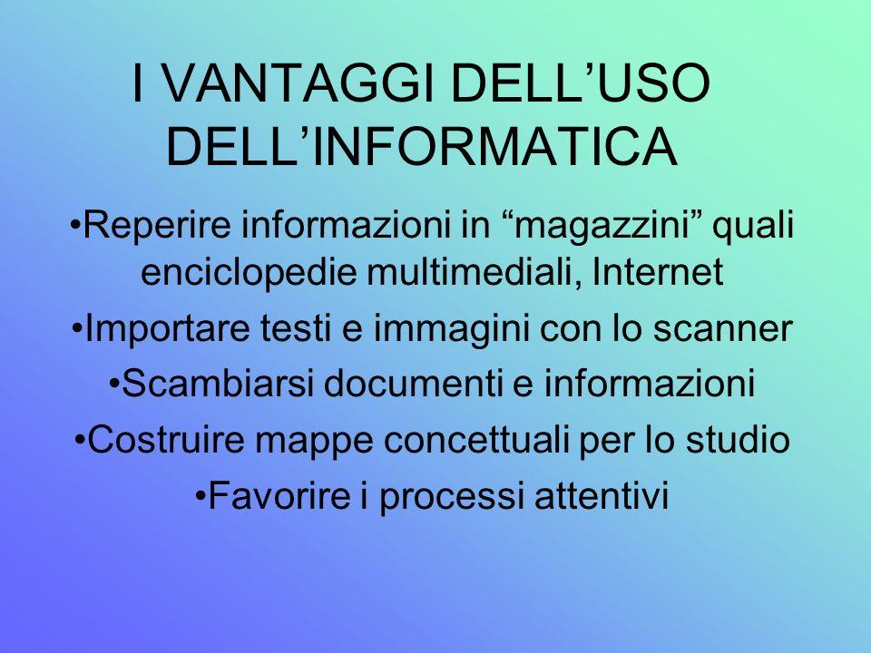I VANTAGGI DELLUSO DELLINFORMATICA Reperire informazioni in magazzini quali enciclopedie multimediali, Internet Importare testi e immagini con lo scan