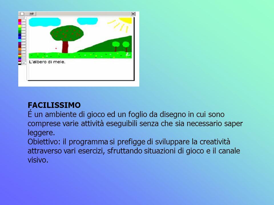 FACILISSIMO É un ambiente di gioco ed un foglio da disegno in cui sono comprese varie attività eseguibili senza che sia necessario saper leggere. Obie