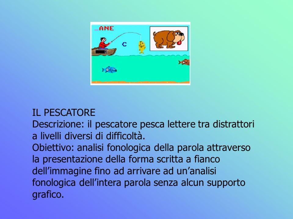 IL PESCATORE Descrizione: il pescatore pesca lettere tra distrattori a livelli diversi di difficoltà. Obiettivo: analisi fonologica della parola attra