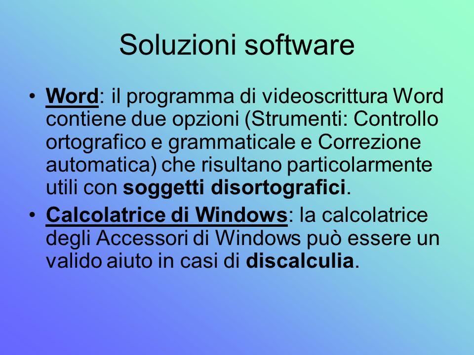 Soluzioni software Word: il programma di videoscrittura Word contiene due opzioni (Strumenti: Controllo ortografico e grammaticale e Correzione automa