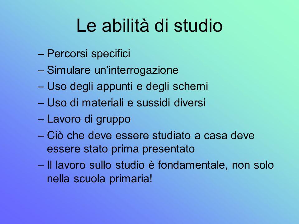 Le abilità di studio –Percorsi specifici –Simulare uninterrogazione –Uso degli appunti e degli schemi –Uso di materiali e sussidi diversi –Lavoro di g