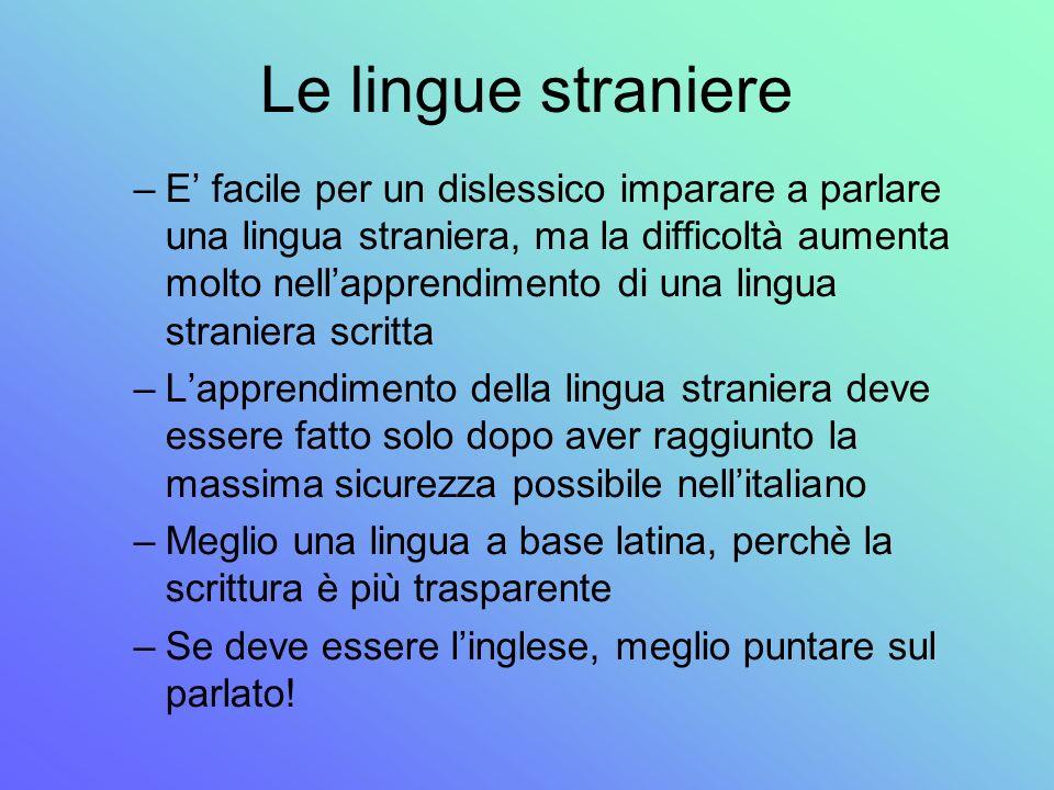 Le lingue straniere –E facile per un dislessico imparare a parlare una lingua straniera, ma la difficoltà aumenta molto nellapprendimento di una lingu