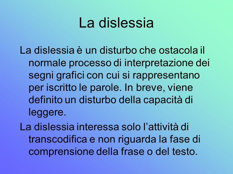 La dislessia La dislessia è un disturbo che ostacola il normale processo di interpretazione dei segni grafici con cui si rappresentano per iscritto le