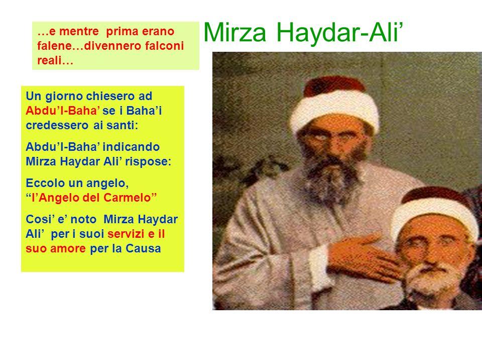 Mirza Haydar-Ali Un giorno chiesero ad Abdul-Baha se i Bahai credessero ai santi: Abdul-Baha indicando Mirza Haydar Ali rispose: Eccolo un angelo,lAngelo del Carmelo Cosi e noto Mirza Haydar Ali per i suoi servizi e il suo amore per la Causa …e mentre prima erano falene…divennero falconi reali…