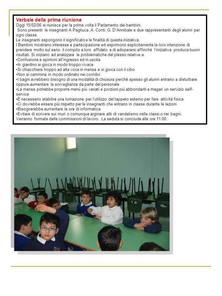 Verbale della prima riunione Oggi 15/02/06 si riunisce per la prima volta il Parlamento dei bambini. Sono presenti le insegnanti A.Pagliuca,A. Conti,
