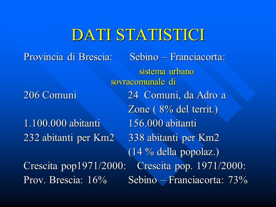 DATI STATISTICI Provincia di Brescia Sebino -Franciacorta Imprese: 107.000 14.451 ( 13%) Imprese: 107.000 14.451 ( 13%) Addetti: 472.000 65.000 (14%) Addetti: 472.000 65.000 (14%) 42,6% degli abitanti 42,4% degli abitanti 42,6% degli abitanti 42,4% degli abitanti Densità attività econ.