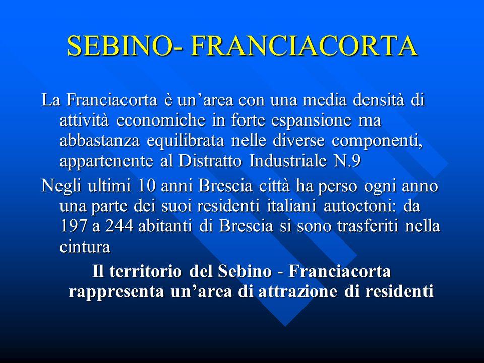 SEBINO- FRANCIACORTA Il territorio è anche agricolo ma questo settore sta perdendo addetti in seguito allo sviluppo delle imprese manifatturiere, commerciali, alberghiere.