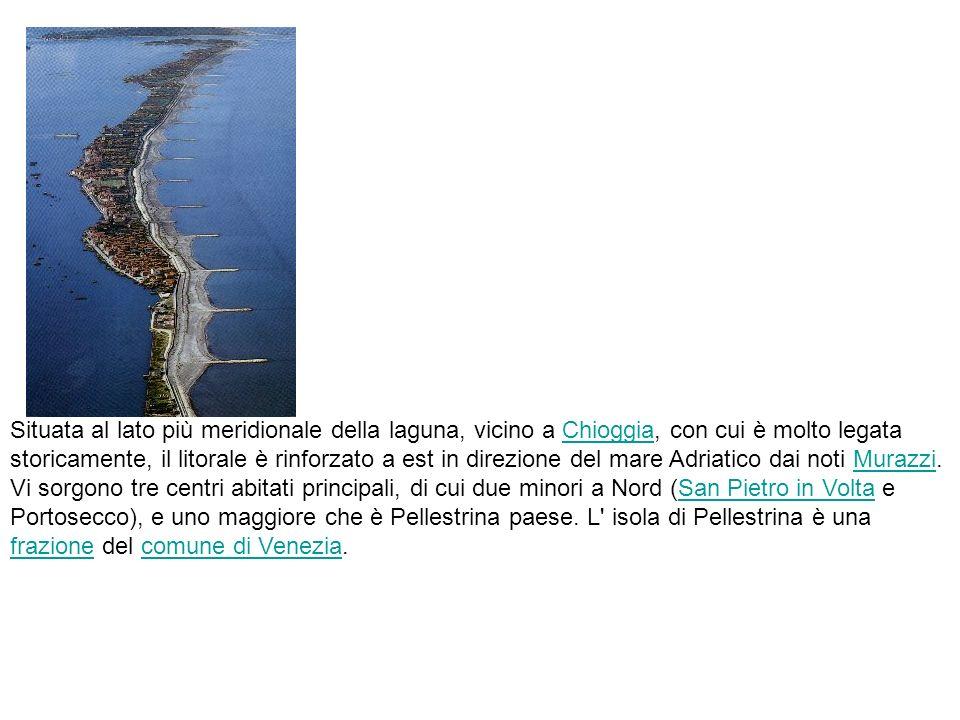 Situata al lato più meridionale della laguna, vicino a Chioggia, con cui è molto legata storicamente, il litorale è rinforzato a est in direzione del