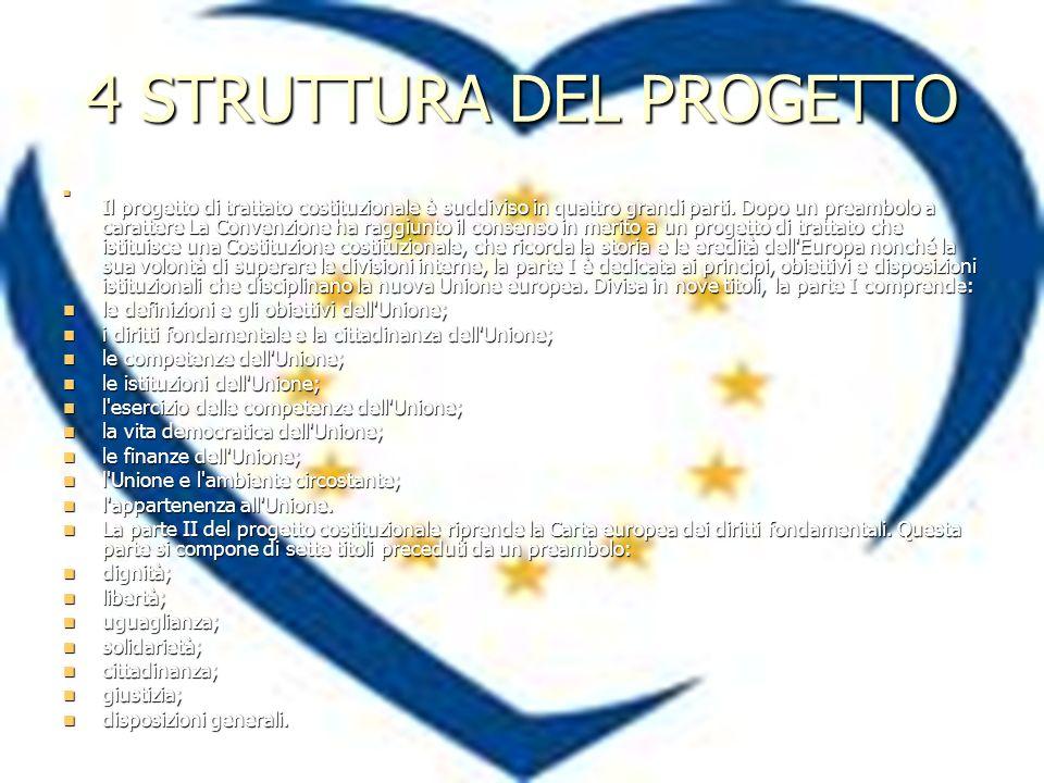 4 STRUTTURA DEL PROGETTO Il progetto di trattato costituzionale è suddiviso in quattro grandi parti.