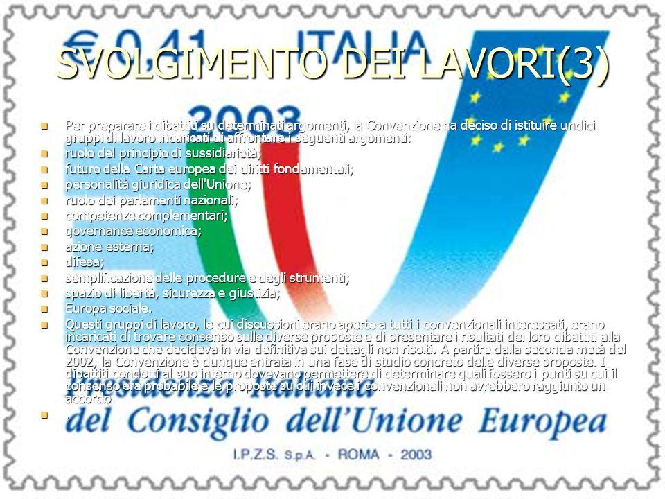 SVOLGIMENTO DEI LAVORI(3) Per preparare i dibattiti su determinati argomenti, la Convenzione ha deciso di istituire undici gruppi di lavoro incaricati di affrontare i seguenti argomenti: Per preparare i dibattiti su determinati argomenti, la Convenzione ha deciso di istituire undici gruppi di lavoro incaricati di affrontare i seguenti argomenti: ruolo del principio di sussidiarietà; ruolo del principio di sussidiarietà; futuro della Carta europea dei diritti fondamentali; futuro della Carta europea dei diritti fondamentali; personalità giuridica dell Unione; personalità giuridica dell Unione; ruolo dei parlamenti nazionali; ruolo dei parlamenti nazionali; competenze complementari; competenze complementari; governance economica; governance economica; azione esterna; azione esterna; difesa; difesa; semplificazione delle procedure e degli strumenti; semplificazione delle procedure e degli strumenti; spazio di libertà, sicurezza e giustizia; spazio di libertà, sicurezza e giustizia; Europa sociale.