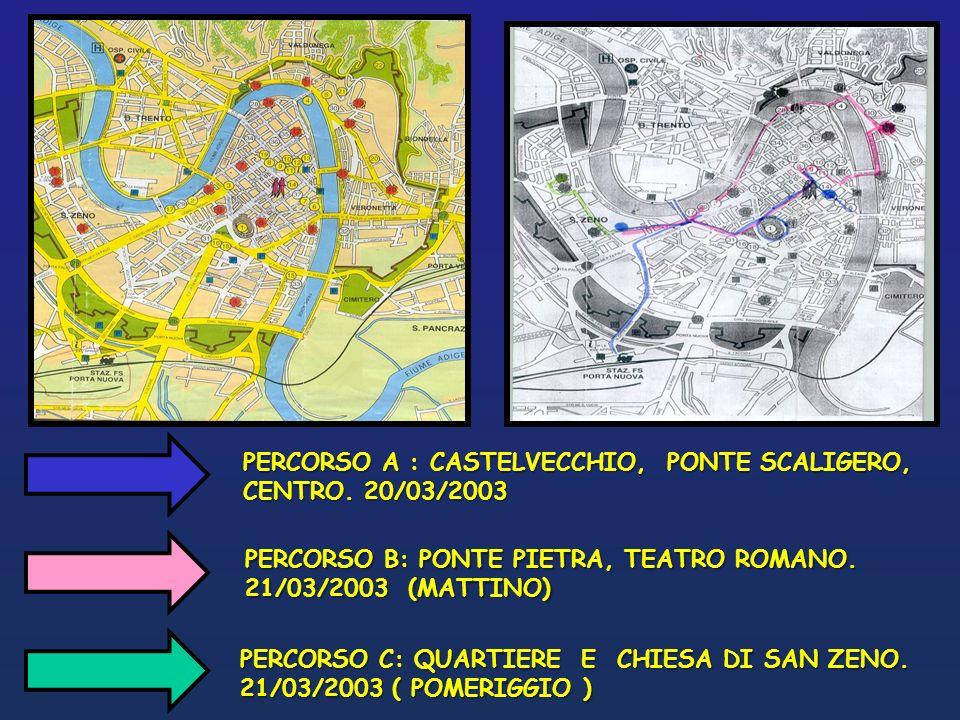 PERCORSO A : CASTELVECCHIO, PONTE SCALIGERO, CENTRO. 20/03/2003 PERCORSO B: PONTE PIETRA, TEATRO ROMANO. 21/03/2003 (MATTINO) PERCORSO C: QUARTIERE E