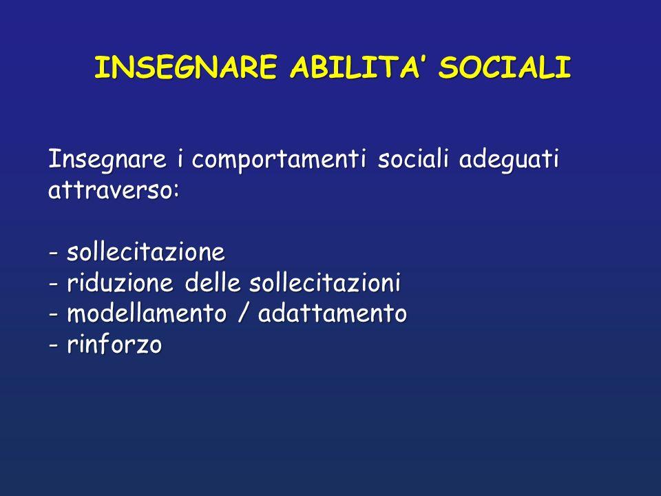 INSEGNARE ABILITA SOCIALI Insegnare i comportamenti sociali adeguati attraverso: - sollecitazione - riduzione delle sollecitazioni - modellamento / ad