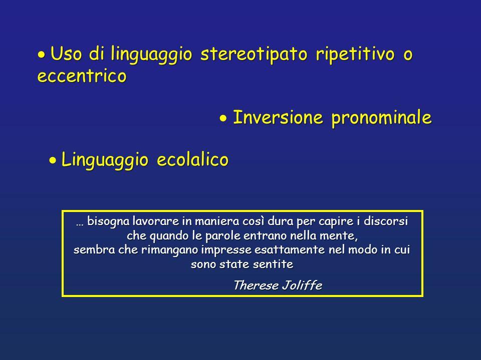 Linguaggio ecolalico Inversione pronominale … bisogna lavorare in maniera così dura per capire i discorsi che quando le parole entrano nella mente, se