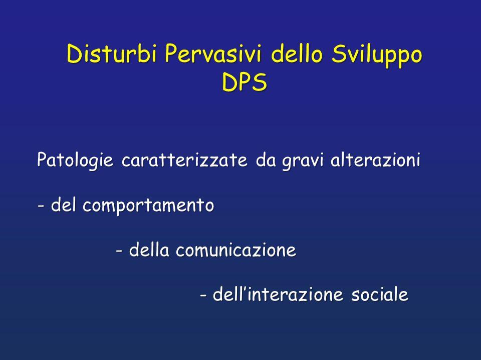 Patologie caratterizzate da gravi alterazioni - del comportamento - della comunicazione - della comunicazione - dellinterazione sociale - dellinterazi