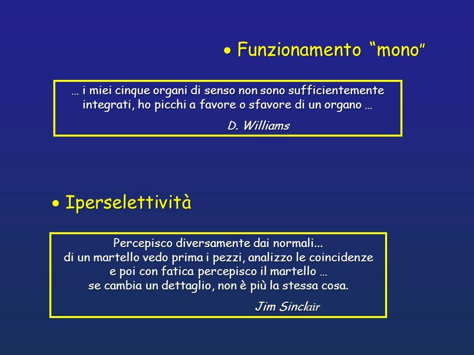 Funzionamento mono Funzionamento mono … i miei cinque organi di senso non sono sufficientemente integrati, ho picchi a favore o sfavore di un organo …