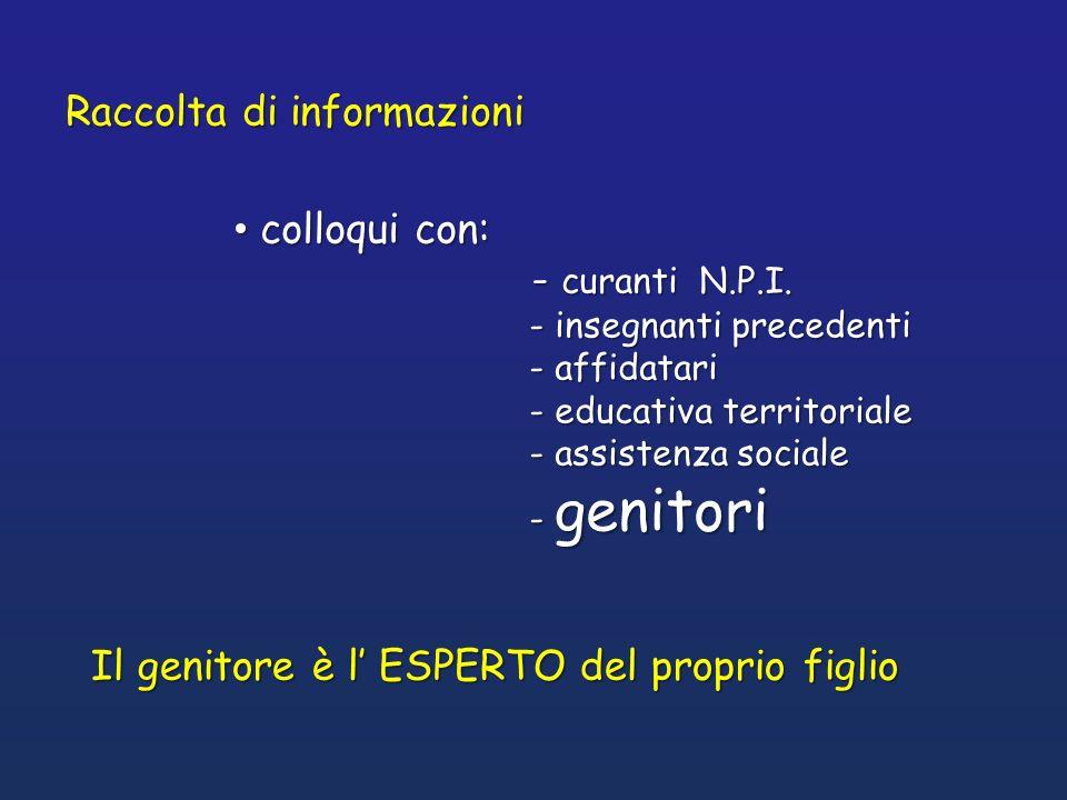 Raccolta di informazioni colloqui con: colloqui con: - curanti N.P.I. - curanti N.P.I. - insegnanti precedenti - insegnanti precedenti - affidatari -
