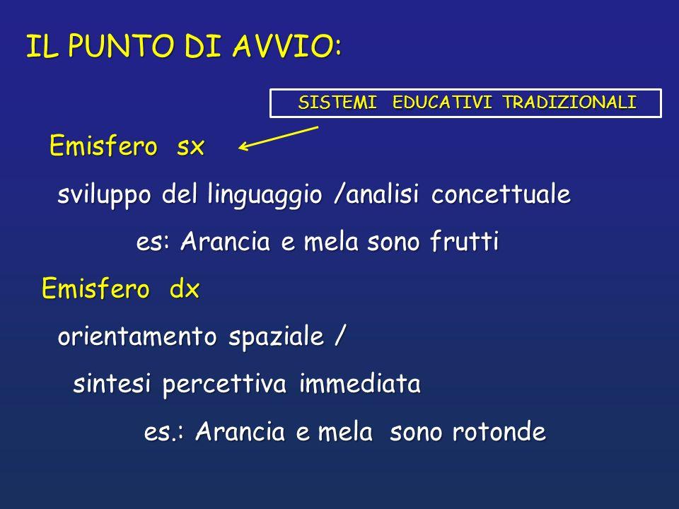 Emisfero sx Emisfero sx sviluppo del linguaggio /analisi concettuale sviluppo del linguaggio /analisi concettuale es: Arancia e mela sono frutti es: A