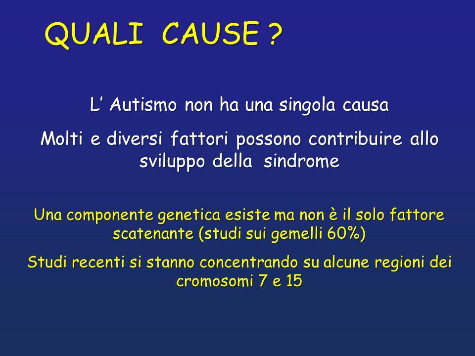 Anomalie di sviluppo del SNC Anomalie in alcune parti del cervello (cervelletto, amigdala, ippocampo, lobi temporali, setto e corpi mammillari) Anomalie a livello di molecole dei neurotrasmettitori (serotonina, beta – endorfine) Anomalie nella produzione di oppioidi Fattori immunologici Solo il 10% dei casi è riconducibile ad una sindrome da mutazione genetica (X fragile, sclerosi tuberosa, anomalie cromosomiche)