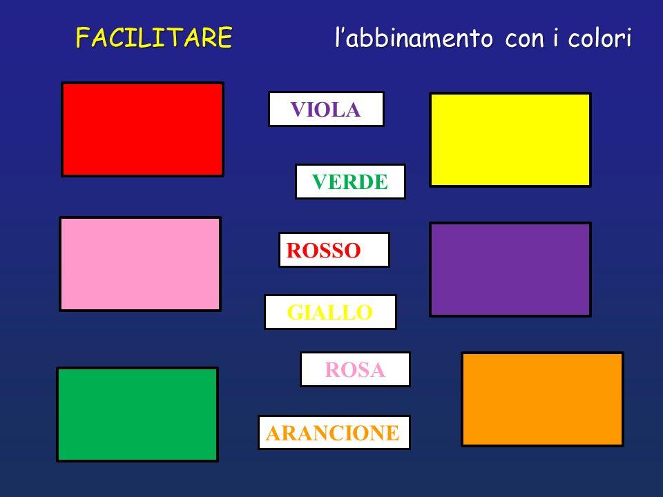 VIOLA GIALLO ROSA ARANCIONE ROSSO VERDE FACILITARE labbinamento con i colori