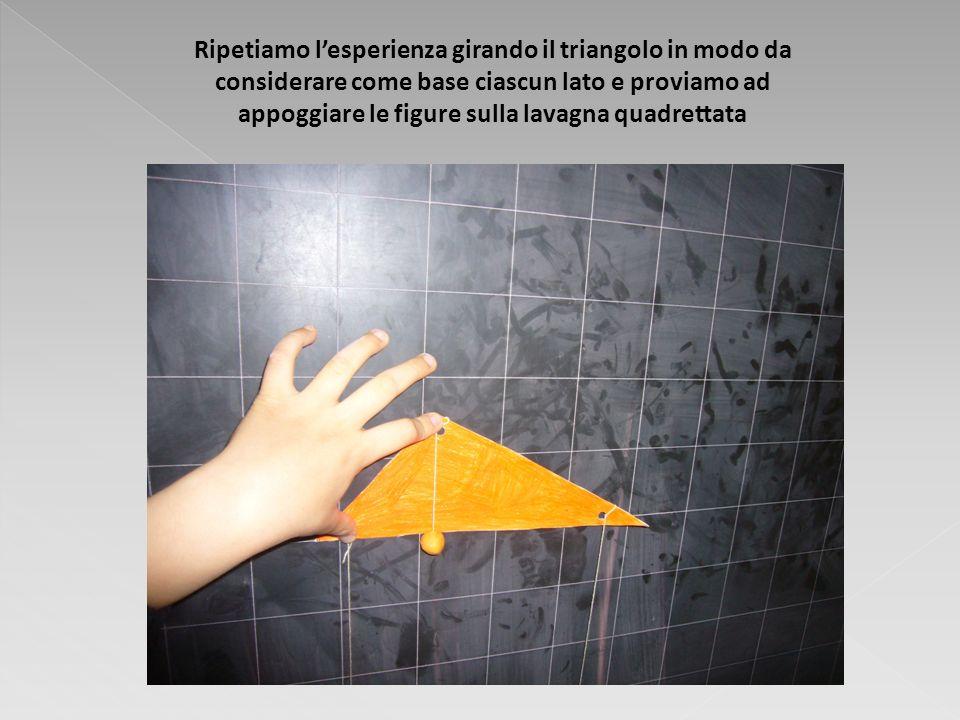 Ripetiamo lesperienza girando il triangolo in modo da considerare come base ciascun lato e proviamo ad appoggiare le figure sulla lavagna quadrettata