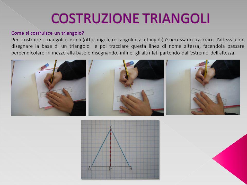 Come si costruisce un triangolo? Per costruire i triangoli isosceli (ottusangoli, rettangoli e acutangoli) è necessario tracciare laltezza cioè disegn