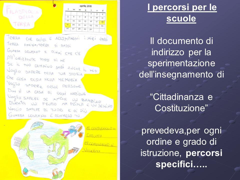 I percorsi per le scuole Il documento di indirizzo per la sperimentazione dellinsegnamento di Cittadinanza e Costituzione prevedeva,per ogni ordine e