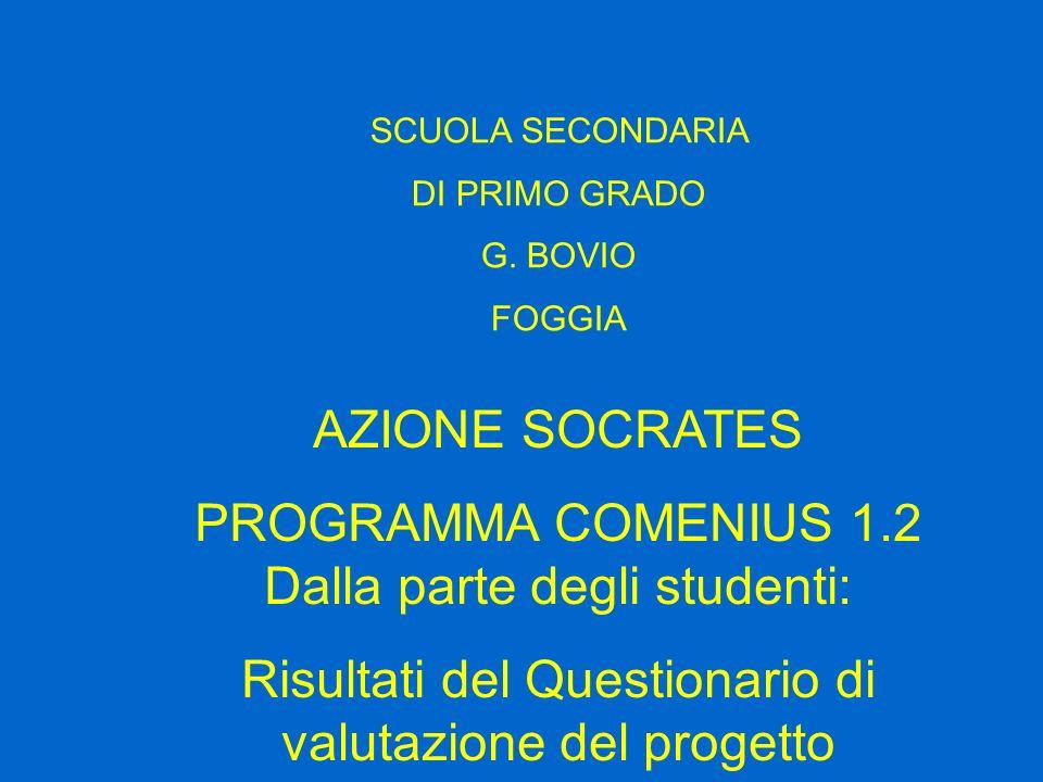 SCUOLA SECONDARIA DI PRIMO GRADO G. BOVIO FOGGIA AZIONE SOCRATES PROGRAMMA COMENIUS 1.2 Dalla parte degli studenti: Risultati del Questionario di valu