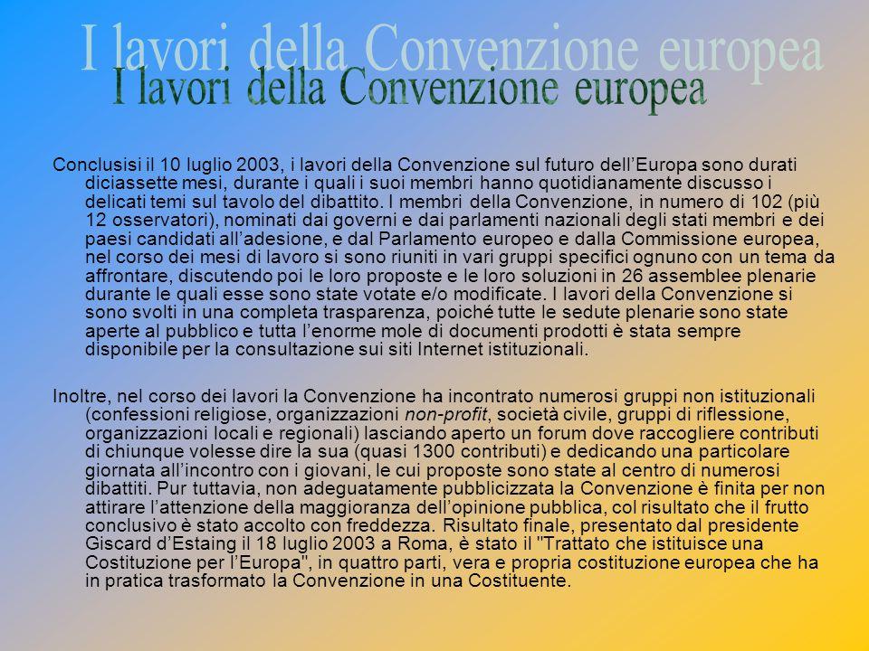 Conclusisi il 10 luglio 2003, i lavori della Convenzione sul futuro dellEuropa sono durati diciassette mesi, durante i quali i suoi membri hanno quotidianamente discusso i delicati temi sul tavolo del dibattito.