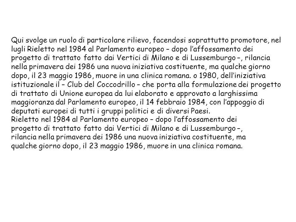 Rieletto nel 1984 al Parlamento europeo – dopo laffossamento dei progetto di trattato fatto dai Vertici di Milano e di Lussemburgo –, rilancia nella p
