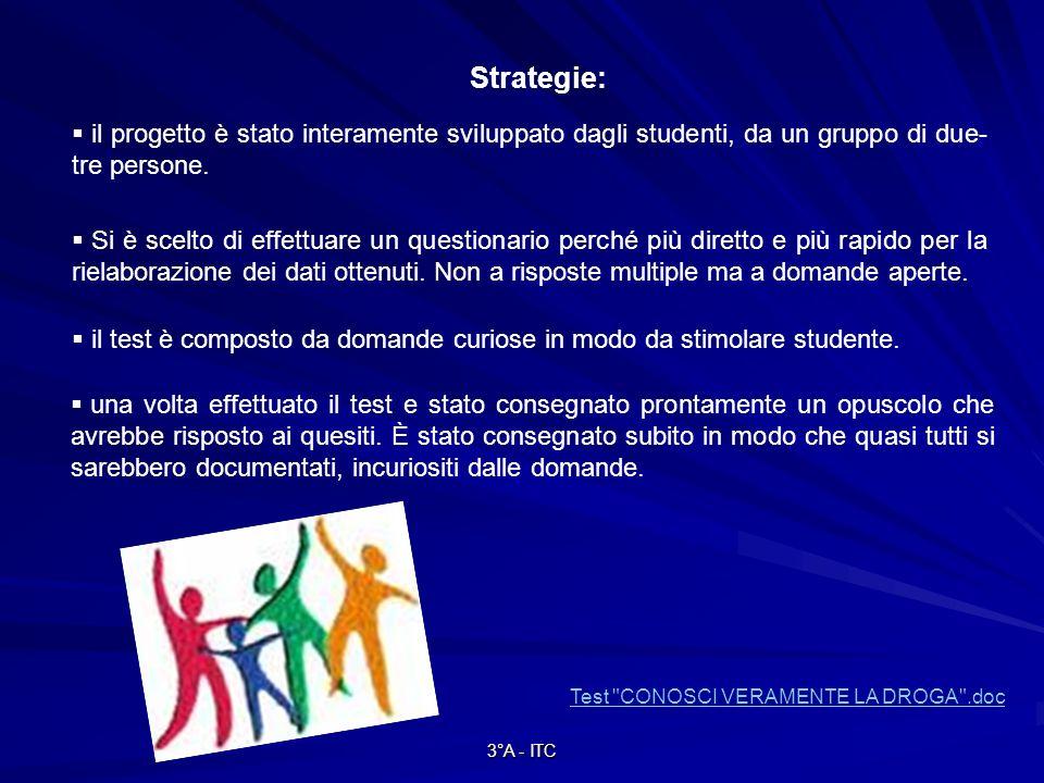 3°A - ITC Strategie: il progetto è stato interamente sviluppato dagli studenti, da un gruppo di due- tre persone.