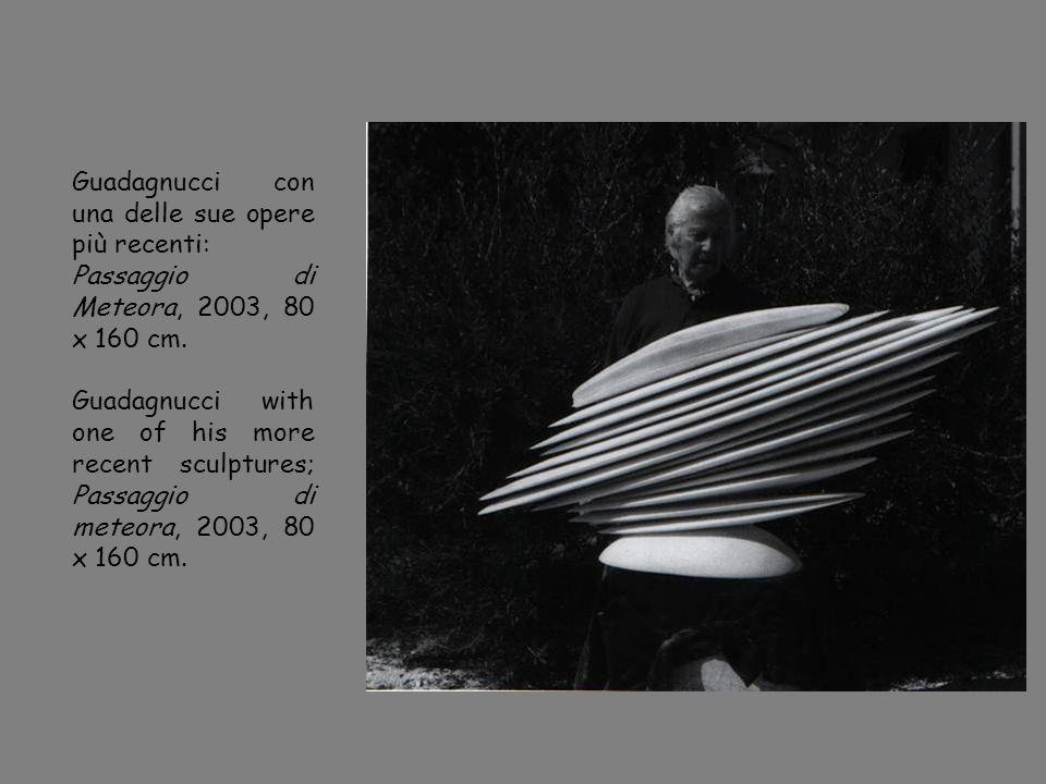Guadagnucci con una delle sue opere più recenti: Passaggio di Meteora, 2003, 80 x 160 cm. Guadagnucci with one of his more recent sculptures; Passaggi