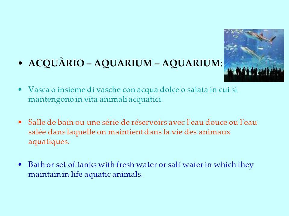 ACQUÀRIO – AQUARIUM – AQUARIUM: Vasca o insieme di vasche con acqua dolce o salata in cui si mantengono in vita animali acquatici.